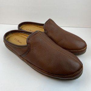 L.L. Bean Slip On Slipper Scuffs 10 Brown Elkhide